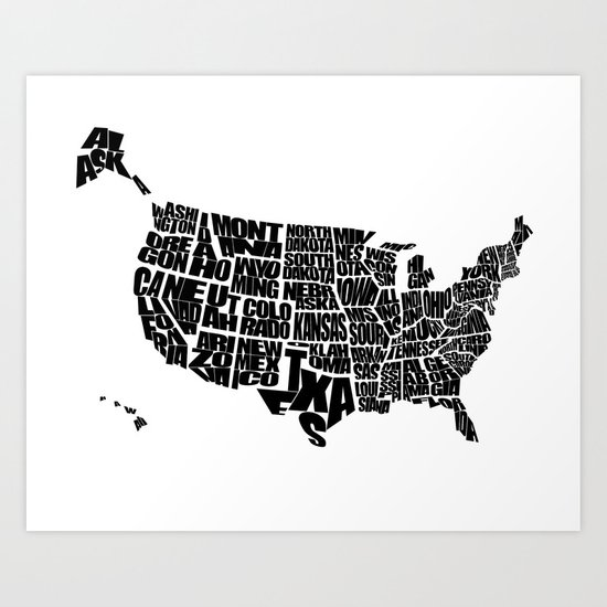 USA Word Map Black And White Art Print By Ink Of Me Graphics - Usa map black