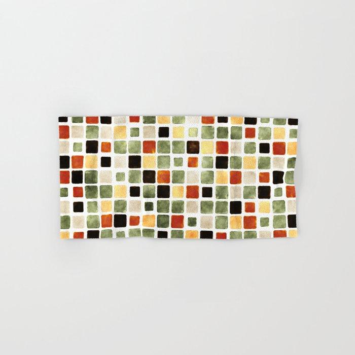 Grunge Pattern Watercolor Tiles Hand & Bath Towel