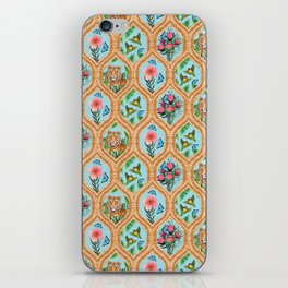 Tiger , protea, hibiscus, palm ogee pattern in watercolor iPhone Skin