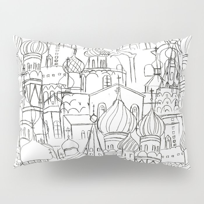 Russian cathedral church line drawing Pillow Sham