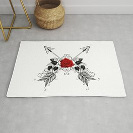 Black Arrows with Red Roses Rug