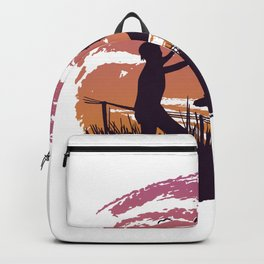 Father and child in a meadow Backpack
