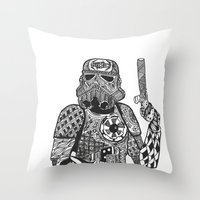 storm trooper Throw Pillows featuring Storm Trooper  by ATELOPHILIA DESIGNS