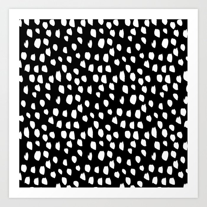 Handdrawn drops and dots on black - Mix & Match with Simplicty of life Kunstdrucke