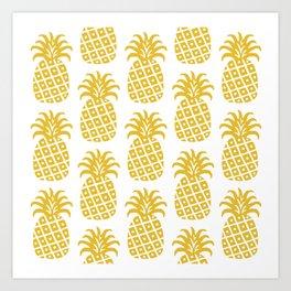 Retro Mid Century Modern Pineapple Pattern Yellow Art Print