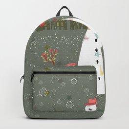 Cute Christmas Snowman & Birds Winter Scene Backpack