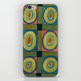 Strong Green Grid filled with Yellow Circles iPhone Skin