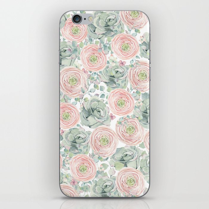 Flowers And Succulents White  #buyart #decor #society6 iPhone Skin