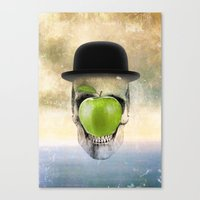 magritte Canvas Prints featuring Magritte Skull by HenryWine