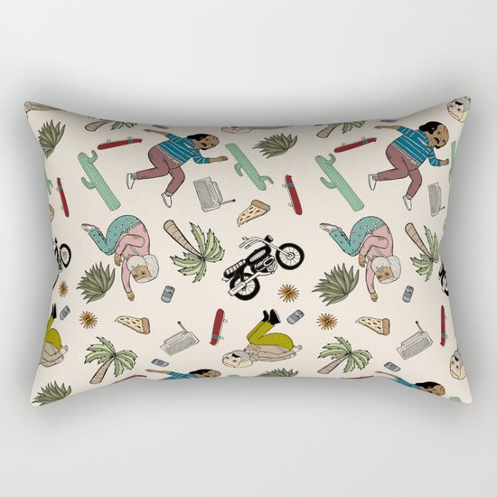On the freedom experienced by Desert Bike Harpies.   Rectangular Pillow