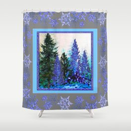GREY WINTER SNOWFLAKE  CRYSTALS FOREST ART Shower Curtain