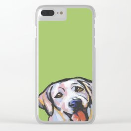 Yellow Lab Labrador Retriever Dog Portrait Pop Art painting by Lea Clear iPhone Case