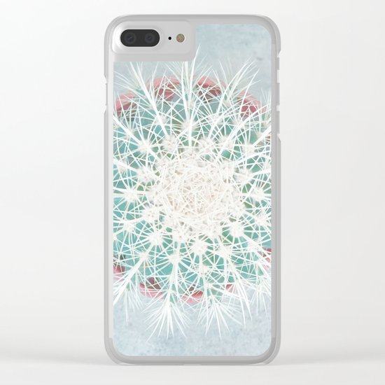 Cactus mandala - aqua mist concrete Clear iPhone Case