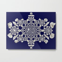White orchid navy background Metal Print