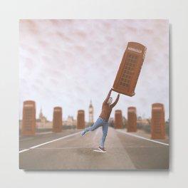 Flying phonebox Metal Print