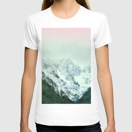 Snowy Winter Mountain Landscape with Alpenglow T-shirt