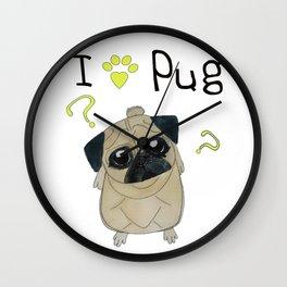 I Love Pug Wall Clock