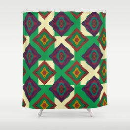 Abstract geometric pattern. Rhombus texture/ Green and violet Shower Curtain