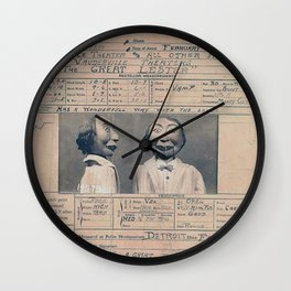 The Great Lester Detroit Arrest Record vaudeville humorous black and white photograph Wall Clock