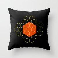 hexagon Throw Pillows featuring HEXAGON by KARNATARKA