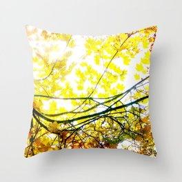 Lovely Autumn Leaves Tree Branch Nature - Canvas Texture Throw Pillow