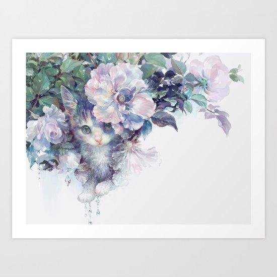 secret behind flowers Art Print