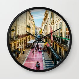 Beautiful Pink Street Downtown Lisbon City, Wall Art Print, Modern Architecture Art, Poster Decor Wall Clock