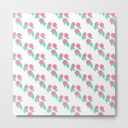 Geometrical abstract pink teal fruit pattern Metal Print