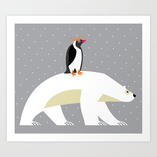 The Polar Bear and The Penguin Art Print