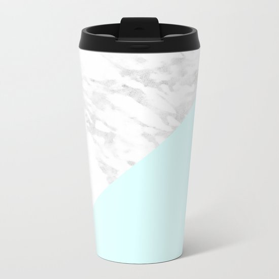 White Marble with Pastel Blue and Grey Metal Travel Mug
