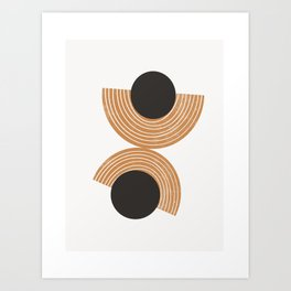 Hara - abstract art, rainbow, circle, earthy, earth toned, ochre, bold, block print art Art Print