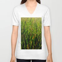 grass V-neck T-shirts featuring Grass by Efua Boakye