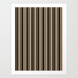 Tan Brown and Black Vertical Var Size Stripes Art Print