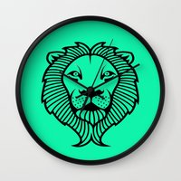 lion king Wall Clocks featuring Lion King by ArtSchool