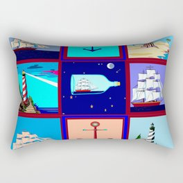 A Nautical Quilt with Ships, Lighthouses and Anchors Rectangular Pillow