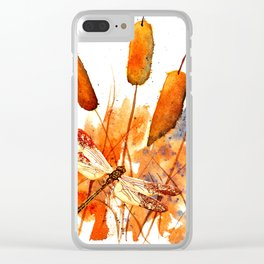 Dragonfly and Cattails Clear iPhone Case