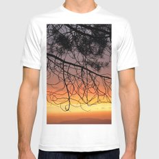 Purple Sunset At The Mountains III White MEDIUM Mens Fitted Tee