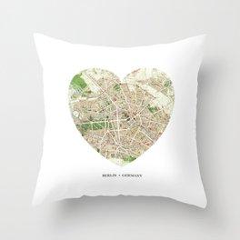 Berlin heart map Throw Pillow
