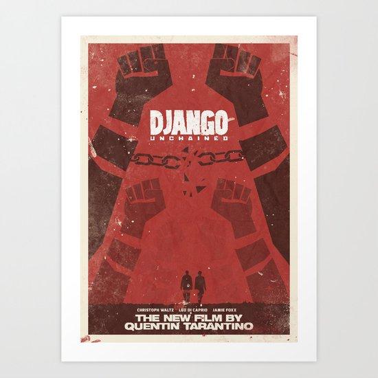 Django Unchained -  Quentin Tarantino Minimal Movie Poster Art Print