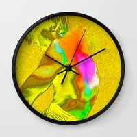 stay gold Wall Clocks featuring stay gold by Robert Alan