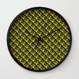 Interweaving square tile made of yellow rhombuses with dark gaps. Wall Clock