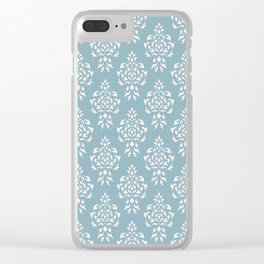 Crest Damask Repeat Pattern Cream on Blue Clear iPhone Case