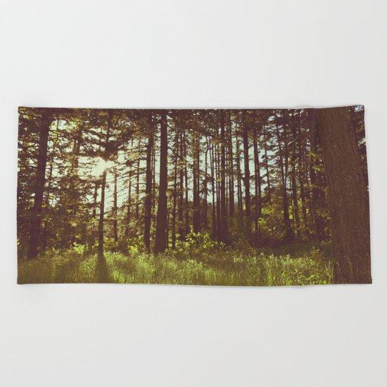 Summer Forest Sunlight Beach Towel