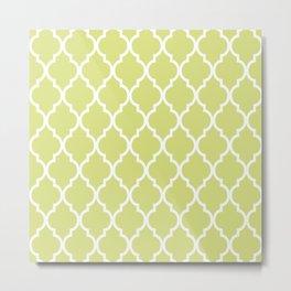 Classic Quatrefoil Lattice Pattern 731 Chartreuse Green Metal Print