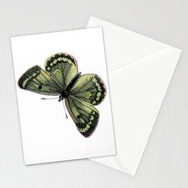 Vintage green butterfly illustration Stationery Cards