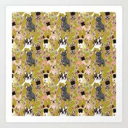 Floral French Bulldog Art Print