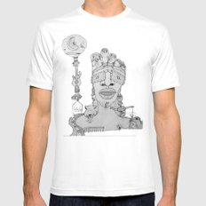 Face Balloon White Mens Fitted Tee MEDIUM
