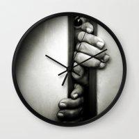 fear Wall Clocks featuring Fear by unaciertamirada
