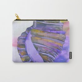 NAUTILUS CONCH SEA SHELL PURPLE IMPRESSIONS Carry-All Pouch