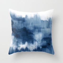 Blue watercolor brush strokes Throw Pillow